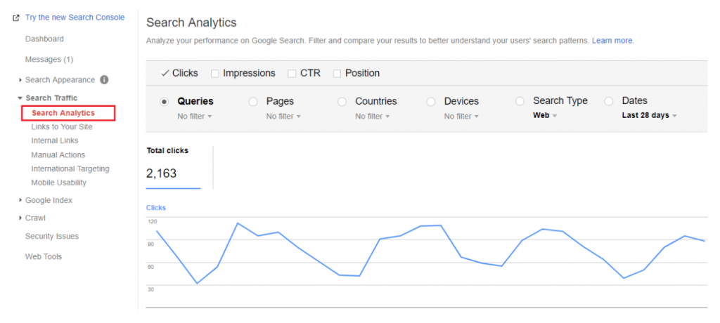 search analytics shopify store seo