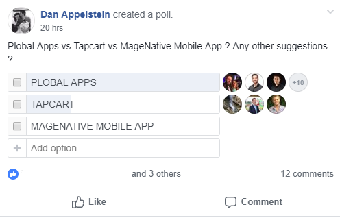 Mobile apps poll on Shopify Plus