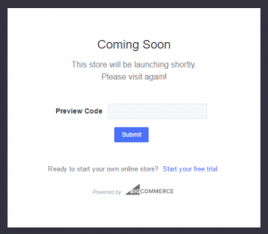 How to get my preview code for my BigCommerce store- coming soon