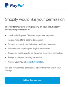 How to set up PayPal on Shopify-permission